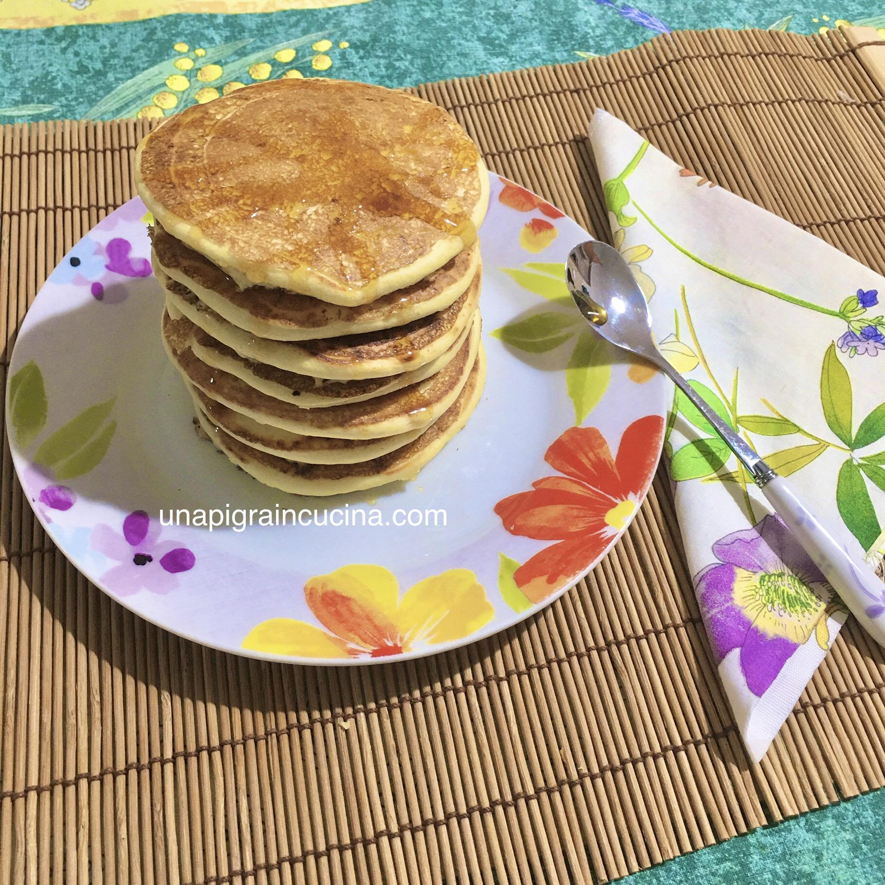 Ricetta Pancake Americani Giallo Zafferano.Pancakes Light Senza Burro E Olio Una Pigra In Cucina